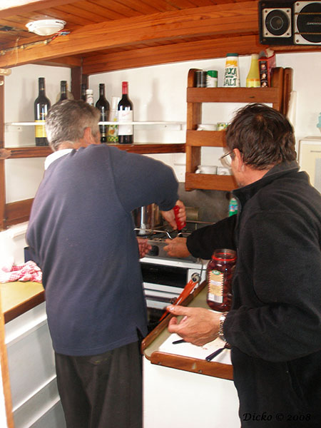 The two Bobs preparing the snacks